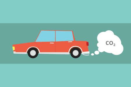 Carbone de voiture fumée pollution au CO2 de dioxyde de brume plane Banque d'images - 47519431