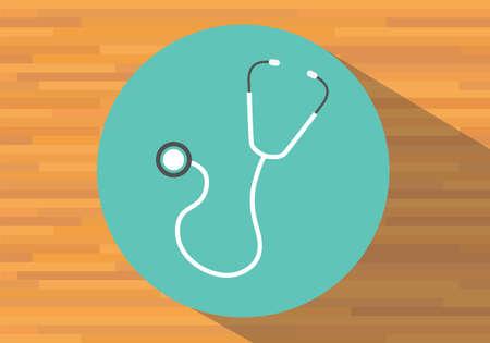 estetoscopio corazon: estetoscopio aislados icono de equipos médicos de salud plana vectorial Vectores