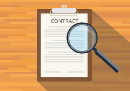legal contract: read full contract on clipboard use magnifying glass Illustration