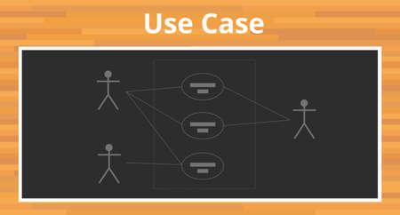 unified: uml unified modelling language use case diagram vector