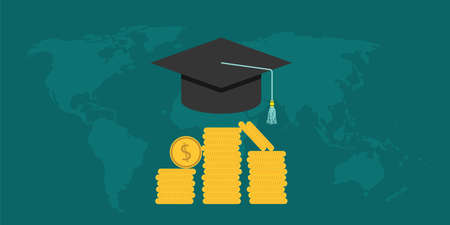 scholarship: scholarship college with cap and money coin vector