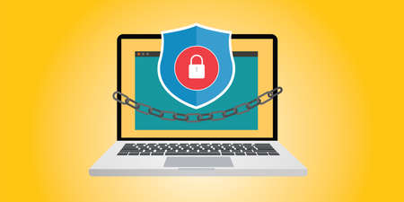 internet security illustration with chain and padlock vector Illustration