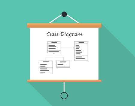 unified: uml unified modelling language class diagram vector