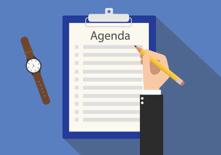 meeting agenda: agenda meeting to do list on clipboard vector flat Illustration