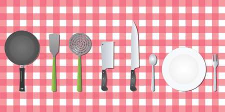 knife fork: kitchen set tools utensil on table vector flat Illustration