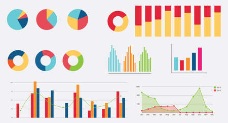 charts and graphs: flat graph icon chart collection vector flat