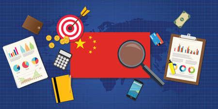 economía de China en ascenso económico con un buen cuadro o gráfico y buena diana