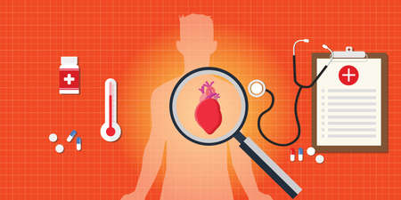 myocardial infarction: heart attack disease with medical report and medicine pils and capsule