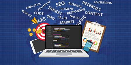 development: website development concept and preparation process vector flat design