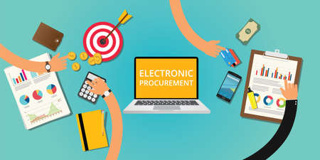 engineering clipboard: electronic procurement concept with money and internet buying