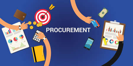 procurement concept with money and graph chart analysis