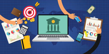 online banking concept with goals and data graph and chart analysis and money Illustration