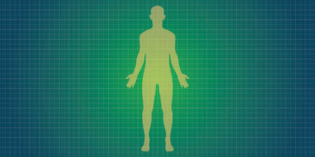 human body: human body silhouette with blue print concept