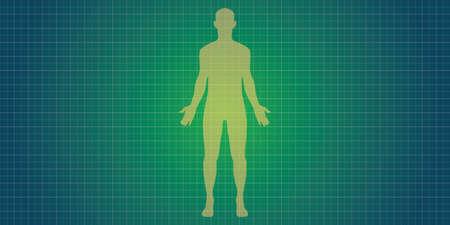 silueta humana: silueta del cuerpo humano con el concepto de impresión de color azul Vectores