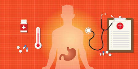 gastric disease with medicine and human body illustration