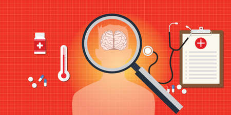 brain disease: brain or head disease with medical report and medicine pils and capsule