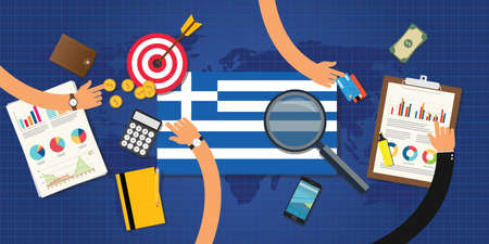 economic: greek or greece economy and economical crisis and financial situation Illustration