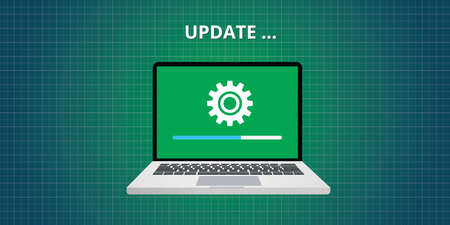 computer software: data update or synchronize with bar process vector flat Illustration