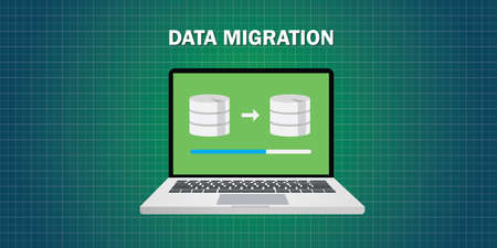 application icon: data migration in computer from database vector flat