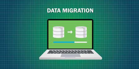 Datenmigration in Computer aus der Datenbank Vektor flach Vektorgrafik
