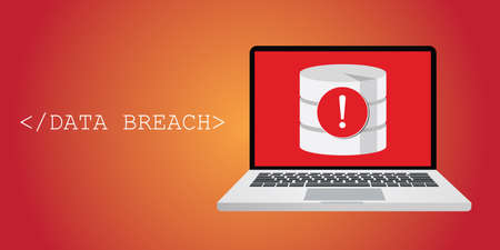 vulnerability: data breach security warning with notebok, and database warning Illustration
