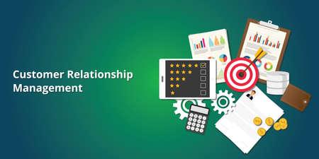 crm customer relationship management met goals, rating, klembord, grafiek en grafiek Vector Illustratie