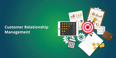 crm customer relationship management with goals, rating,  clipboard, graph and chart