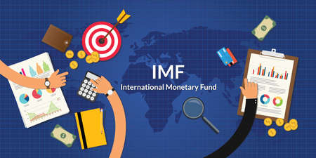 monetary: imf international monetary fund concept with team work and graph chart Illustration