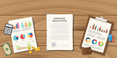 stack of documents: financial regulation with paper work and graph data chart wood table