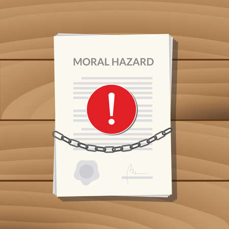 moral: moral hazard with paper chain and alert sign