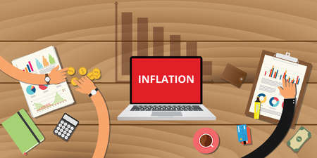 inflation concept with down graph and graph and chart