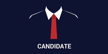 recruiting: candidate recruitment or election with silhouette concept and black background Vectores