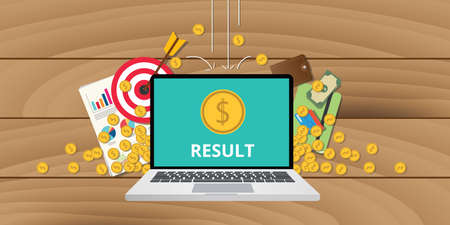 computer data: business results concept with gold coin money target and data graph