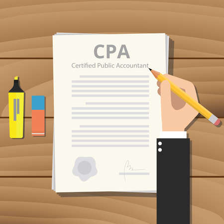 cpa: cpa certified public accountant with paper and sign hand