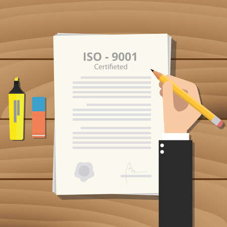 iso: iso certified or certification with paper and sign hand