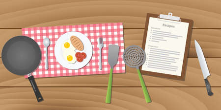 preparing food: food recipe with food and recipe paper on table