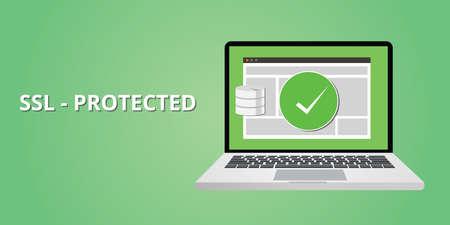 Protección certificado SSL para la seguridad del sitio web de la piratería Foto de archivo - 48128016