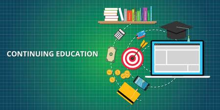 書籍、目標、ターゲット、お金、スマート フォンで示す継続教育プロセス