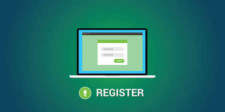 online form: online registration concept with notebook and registration form Illustration