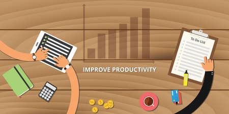 productividad: mejorar el concepto de productividad con el gráfico de aumento del crecimiento Vectores