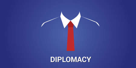 diplomacy: diplomacy concept with black suit clothes and red tie