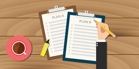 plan a and plan b illustration with clipboard vector