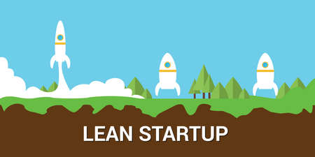 to lean: lean startup concept with lean and fat rocket illustration