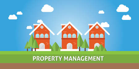 property management with real estate house cartoon Ilustração