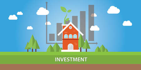 real estate investment: house investment property real estate business graph growth Illustration