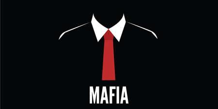 mafia man silhouet misdaad rode stropdas vector stock Stock Illustratie