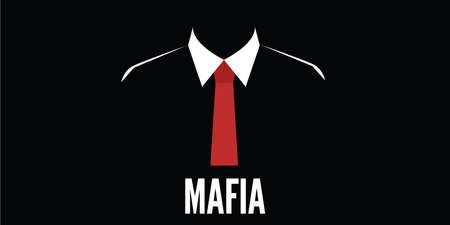 mafia man silhouette crime red tie vector stock