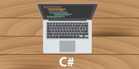 computer programmer: c sharp developer programmer make write code programe Illustration