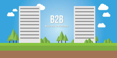 acronyms: business to busines b2b concept corporate building vector Illustration