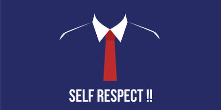 serious business: self respect confidence person with suit red tie vector Illustration